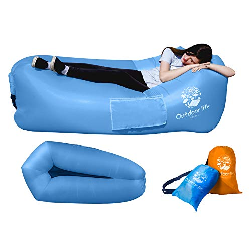 HOLALE 2019 Latest Inflatable Lounger Air Sofa Hammock, More Comfortable and Portable Air Chair for Outdoor Lakeside Beach Travel Camping Lounger Couch Picnic (Blue) (Best Hiking Chair 2019)