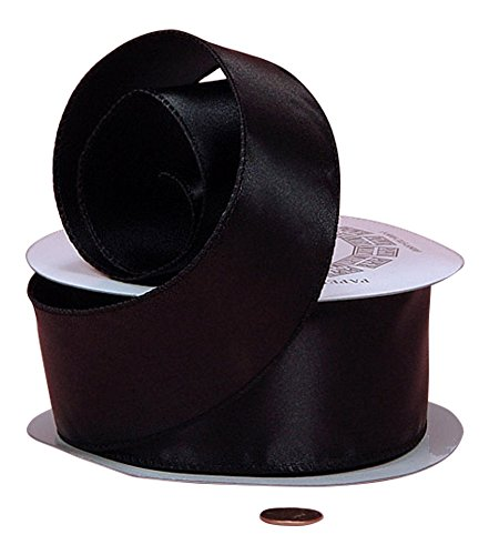 Satin Wire Ribbon - Black Cast-Over Wired Satin Ribbon, 1-1/2