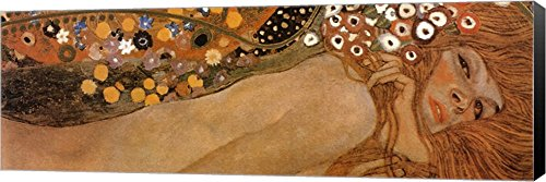 (Water Serpents II, c.1907 (Detail of Woman 4) by Gustav Klimt Canvas Art Wall Picture, Museum Wrapped with Black Sides, 41 x 14 inches)
