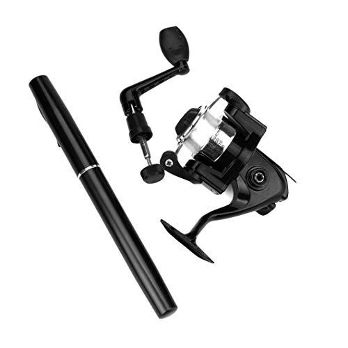 Quaanti Mini Portable Pocket Fish Pen Shape Aluminum Alloy Fishing Rod Pole Reel Baitcasting Lightweight Fishing Accessories (Black)
