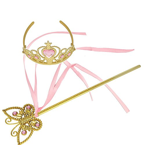 Princess Dress Up Princess Silk Wands Tiaras and Crowns for Little Girls Butterfly Wand Gold Set Pink ()