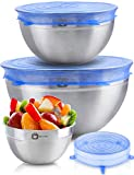 Stainless Steel Mixing Bowls With Sretch Silicon Lids (Set of 3). Sizes- 5, 3, 1.5 QT. For Healthy Meal, Nesting and Stackable .Monka