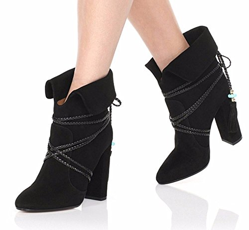 Boots Winter Heel Ankle Women On Strap Ankle Round Block Shoes Customized Emiki Slip Black Toe Boots Casual Decoration Tassels nq4wYAqZ