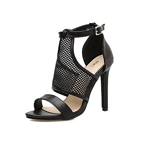 Women's Net Party Cloth stylish Rabbit Trendy Evening Heel Black Stiletto Sandals Dress Heeled Open Sandals Toe Sandals High Lovely aqSF7ICn