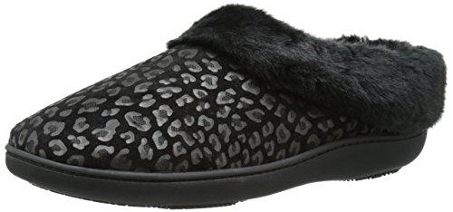 Isotoner Women's Cheetah Microsuede Faux Fur Flat, Black, 8.5-9 M US