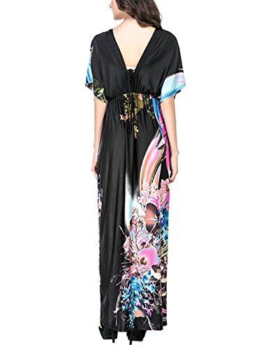 Feoya Robe de plage Femme Longue en Polyester Grande Taille Beachwear pour Vacances Bleu/Taille 2XL