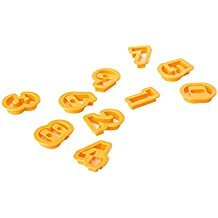 "2"" Number Cookie Cutter Set of 10 Pieces Plastic Orange by Topenca Supplies"
