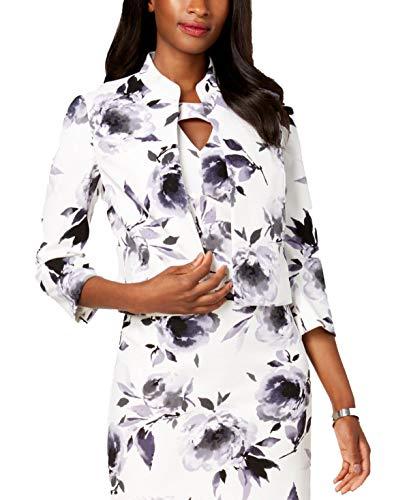 Kasper Womens Petites Suit Separate Office Wear Open-Front Blazer Ivory 4P