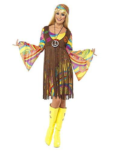Smiffy's Women's 1960's Groovy Lady Costume, Dress, Printed Waistcoat and Headband, 60's Groovy Baby, Serious Fun, Size 6-8, (1960s Hippie Costume)