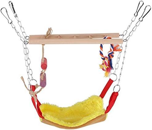 ハンモック 天然素材のハンモック 色梯子 ブランコ 小さいペット オウム インコ ハムスター キヌゲネズミ 小鳥 栗鼠 キャットベッド オウムブリッジ おもちゃ アニマル (イエロー)