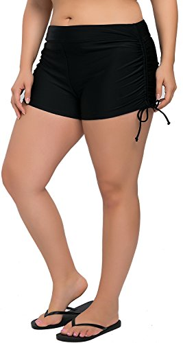 Sociala Womens Plus Size Swim Boyshorts Swimsuit Shorts Tankini Bottoms 1X Black