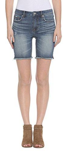 VIGOSS Women's Split Seam Cut Off Denim Chelsea Short, Medium Wash, 25 (Denim Split Shorts)