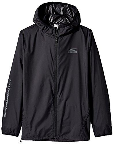 Skechers Men's Go Run Full Zip Lightweight Packable Windbreaker, Black, Large (Full Jacket Zip Lightweight Wind)