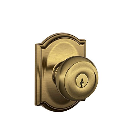 Schlage F51A GEO 609 CAM Georgian Knob with Camelot Trim Keyed Entry Lock, Antique Brass