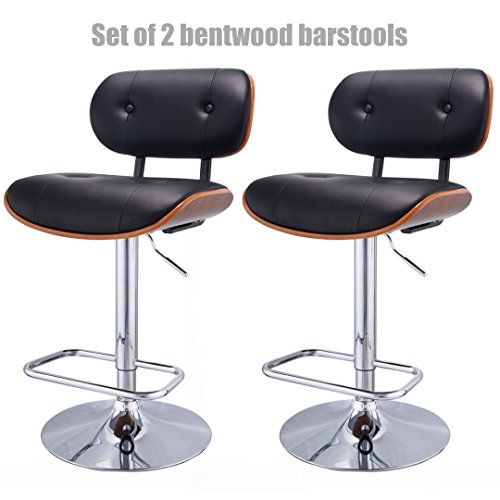 Modern Design Bentwood Bar stool Pneumatic Adjustable Height 360 Degree Swivel Durable PU Leather Upholstery Seat Stable Chrome Steel Frame Pub Chair - Set of 2 ()