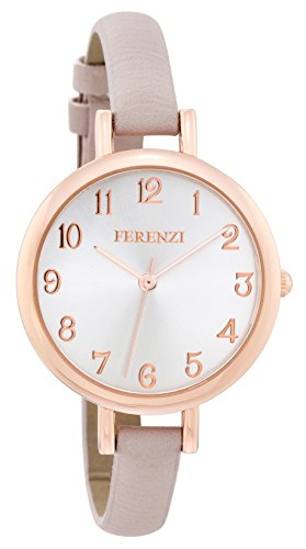 Women's Watches by FERENZI | Elegant Rose Gold-Tone Grey-Beige PU Leather Thin...