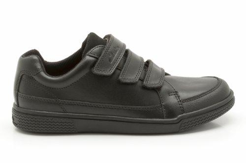 Clarks Jungen Schule DEKKAN-Boy Beschichtetes Leder Schuhe in Schwarz Schmale Passform Gr. 12,5