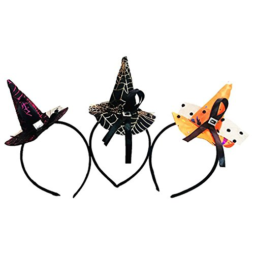3 Pcs, Halloween Colorful Witch Hat Headband Fashion Costume Dress up Accessories