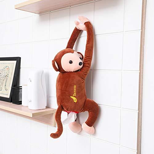 Boi Papiertuchbox zum Aufhängen, für Auto, kreatives Plüsch-Tücherbox mit niedlichem Tier-Affen-Motiv, für Zuhause, Büro, Auto-Dekoration