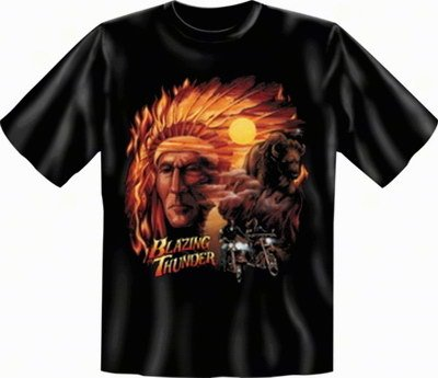 "geil bedrucktes Biker & Motorrad T-Shirt "" Blazing Thunder ! """