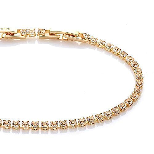 - SALE   BARBARI Jewelry Gold Plated 18K Tennis Bracelet   Handmade Gift for Her+ FREE GIFT BOX! Sparkly Bling Link Bracelet Inlaid Clear Glass Zircons