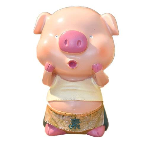 Kiartten Resin Figurines - Cute Pig Money Box Figurines Lovely Saving Metal Coin Pig Piggy Bank Animal Model Miniatures for Home Decor Gift for Kids 1 Pcs