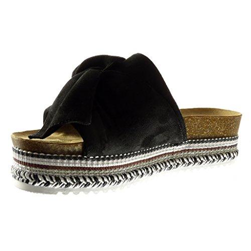Angkorly - damen Schuhe Sandalen - Plateauschuhe - Slip-On - fliege - Geflochten Keilabsatz high heel 5 CM - Schwarz