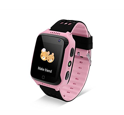 Kids Smart Watch GPS Tracker, Yanqueens Silicone Phone Watch Touch Screen with Camera, SIM Anti-lost, Pedometer, SOS (Pink)