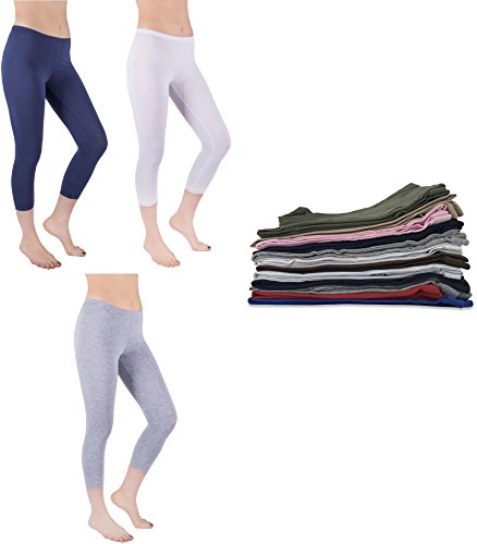 Cotton Leggings Lace - Sexy Basics Womens 2 Pack Stretch Cotton Capri Lace Legging Tights (Small, 6 Pack-Navy/Grey White+ 3 Assorted Colors)