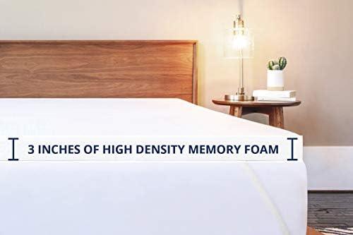 ViscoSoft 3 Inch Memory Foam Mattress Topper Twin XL  High Density Gel Ventilated Pad  Removable