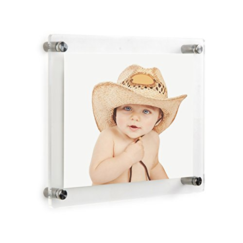 Clear Acrylic Wall Mount Floating Frameless Picture Frame Up to 6x9 Photo for Art Photography Frames-Double Panel(Full Frame is 8x10 inch) (6x9 Template)