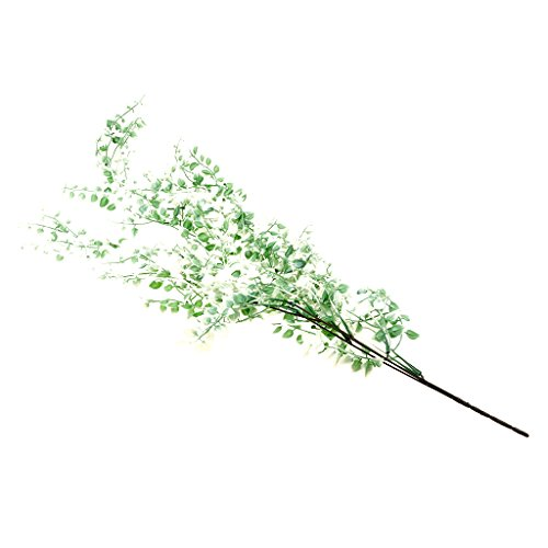 Dolity Green/ Purple/ Fuchsia/ White Green/ Olivine Artificial Small Leaves Plant Branches Spring Grass Weeping Willow Table Arrangement Home Decor - White Green, as described