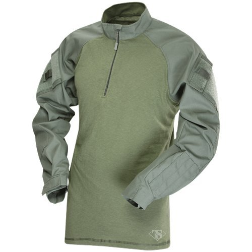 (TACTICAL RESPONSE UNIFORM (TRU) 1/4-ZIP COMBAT SHIRT 50/50 Nylon/Cotton Rip-Stop, Olive 2547004 )