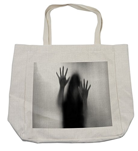 Lunarable Horror House Shopping Bag, Silhouette of Woman behind the Veil Scared to Death Obscured Paranormal Photo Print, Eco-Friendly Reusable Bag for Groceries Beach Travel School & More, Cream by Lunarable