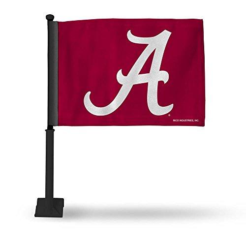 NCAA Alabama Crimson Tide Car Flag, Black Pole, Red, 19