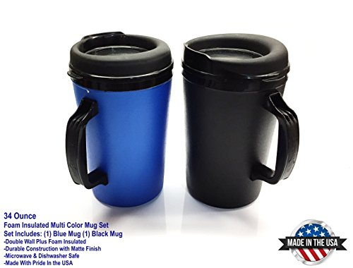 ThermoServ 2 Foam Insulated Coffee Mugs 34 oz (1) Blue & (1) Black