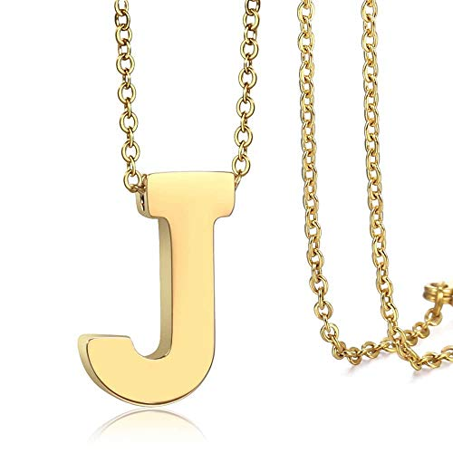 Trendsmax Initial Letter Pendant Necklace Mens Womens Capital Letter Yellow Gold Plated A Z Stainless Steel Box Chain 22inch