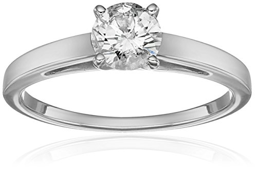 14k Cathedral Solitaire - 14k White Gold Round Cathedral Solitaire Diamond Ring (3/4 cttw, H-I Color, I2-I3 Clarity), Size 7