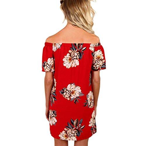 Kleid Transer® Damen BootAusschnitt Kleider Schulterfrei Täglich Party  Strand Chiffon Rot Blume Minikleid GrSXL