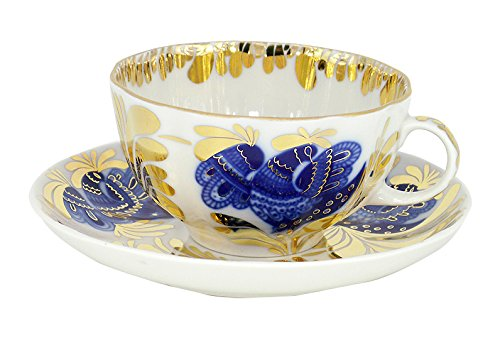 Lomonosov Porcelain Tea Set Cup and Saucer Golden Garden 2 pc