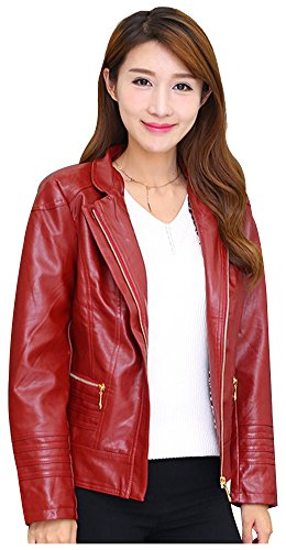 wanture Women's PU Leather Jacket Plus Size Classical Solid Coat Stand Collar Zipper Closure Red 3XL (Pu Solid Stand Collar)