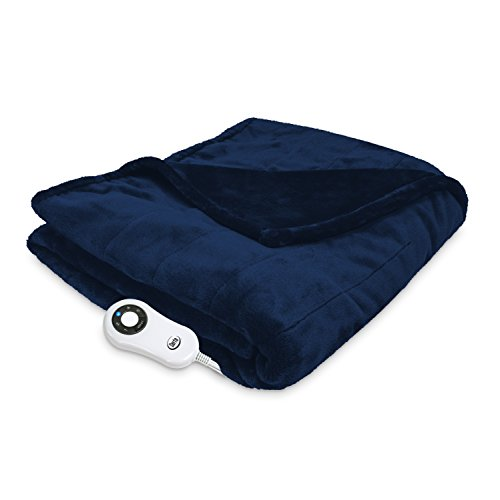 Serta Heated Electric  Silky Plush Blanket with Programmable Digital Controller, Full, Navy Model 0917 Controller Heated Electric Full Blanket