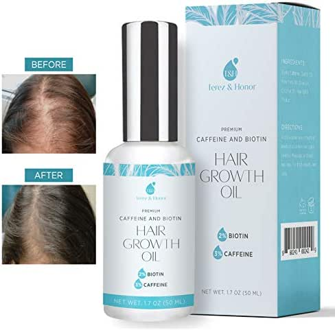 Hair Growth Oil with 2% Biotin 3% Caffeine - Castor Oil,​ Rosemary Oil, for Stronger, Thicker, Longer Hair and Stimulate New Hair Growth 1.7 oz