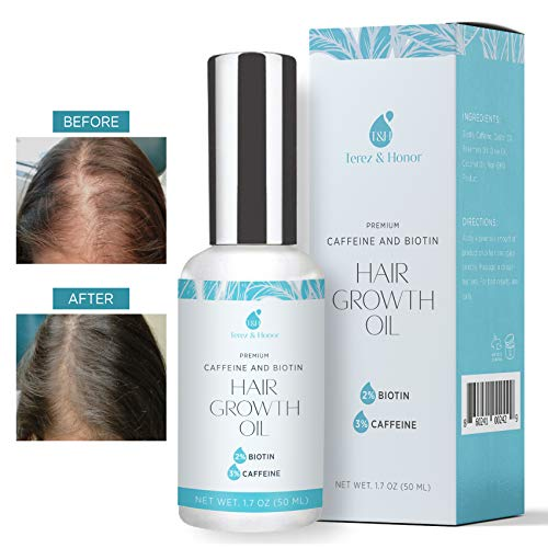 Hair Growth Oil with 2% Biotin 3% Caffeine - Castor Oil,  Rosemary Oil, for Stronger, Thicker, Longer Hair and Stimulate New Hair Growth 1.7 oz