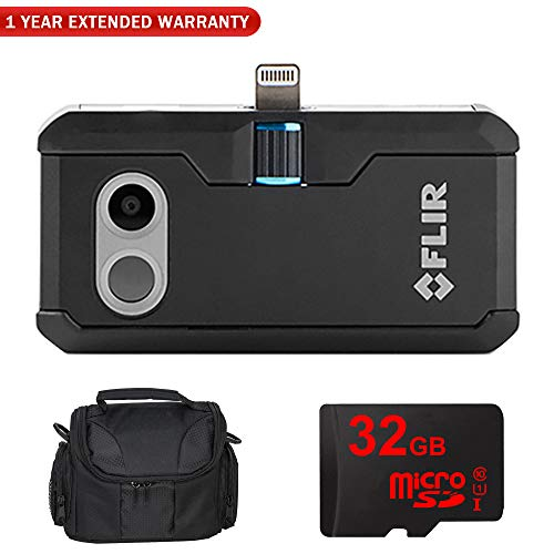 FLIR ONE Pro Thermal Imaging Camera for iOS (435-0006-02) with Compact Deluxe Gadget Bag + 32GB MicroSD Memory Card and 1 Year Extended Warranty Essential Bundle (for iOS-Apple)