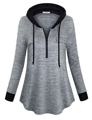 (Vivilli Women Long Sleeve Hoodie Lightweight Loose Fit Pullover Hoodie Sweatshirt with Drawstring Multicoloured Grey Large)