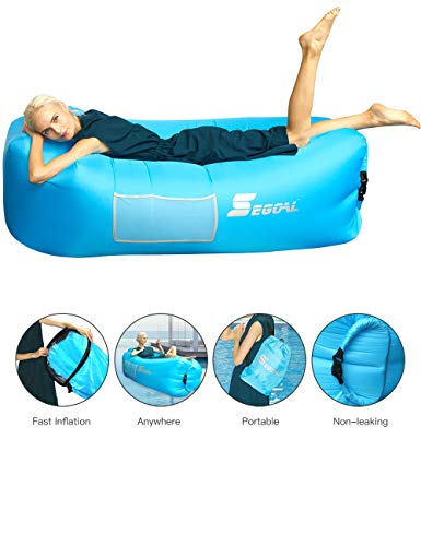 SEGOAL Inflatable Couch Air Sofa with Pillow Portable Anti-Air Leaking Air Chair Inflatable Lounger Chair Hammock for Outdoor Camping Hiking Travel Beach Picnics (Blue)