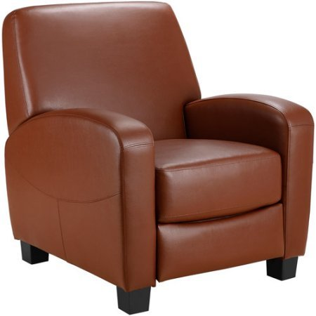 Faux leather and Steel mechanism Home Theater Push-back Recliner, Camel by Mainstays