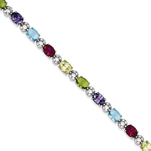 93200 Multicolore Argent Sterling Silver CZ Bracelet à fermoir-JewelryWeb