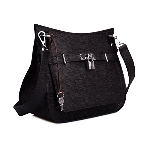 Ainifeel Messenger Black Bag Women's Hardware Padlock Genuine With Silver Satchel Leather qrwHq1xB6